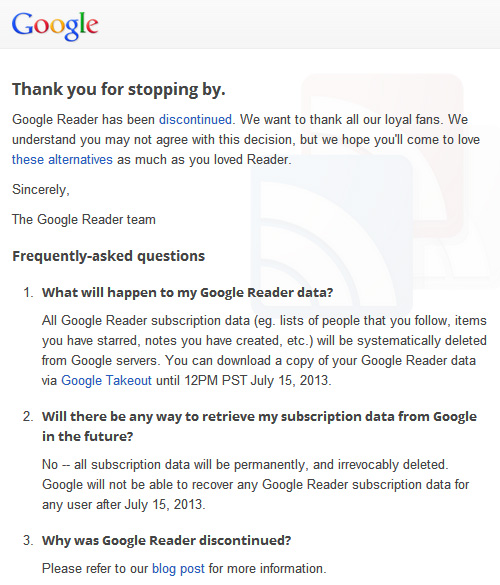 google reader notice